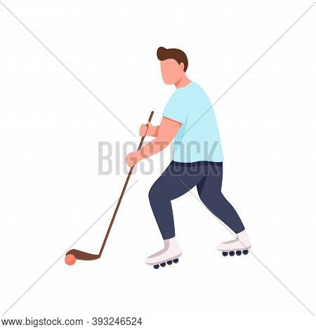 Hockey Player Flat Color Vector Faceless Character. Athlete With Stick And Puck. Sportsman On Roller