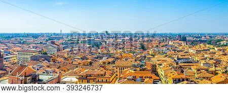 Aerial Panoramic View Of Verona City Historical Centre Citta Antica With Red Tiled Roof Buildings. P