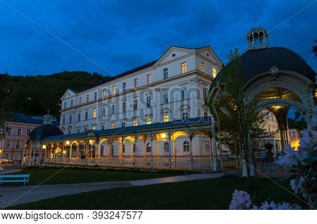 Park Colonnade With Wooden Arbor And Lights In Dvorak Park Dvorakovy Sady In Karlovy Vary Carlsbad H