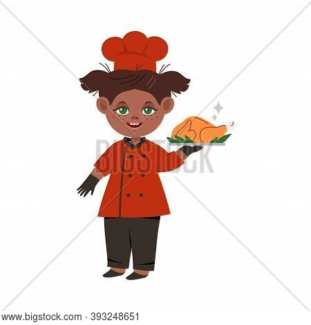 Smiling Girl Wearing Red Toque And Jacket Holding Roasted Turkey Vector Illustration