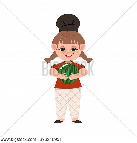 Smiling Girl Wearing Toque Holding Watermelon Fruit Vector Illustration