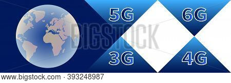 Technology Banner. Globe With Continents On Blue Background. High Speed Data Transmission Technologi