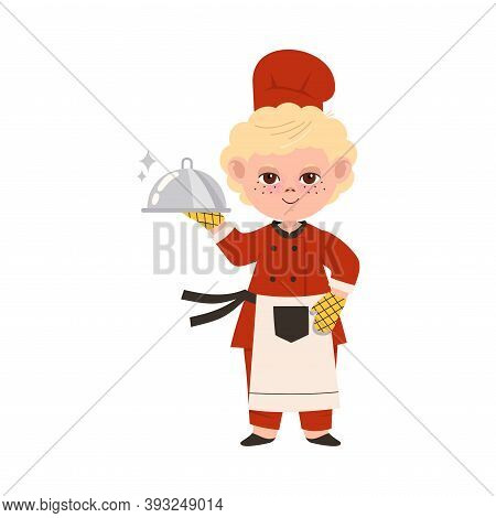 Cute Boy Chef In Toque And Apron Holding Metal Tray Vector Illustration