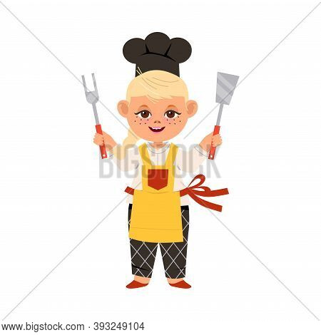 Cute Girl Chef In Toque And Apron Holding Metal Kitchen Utensils Vector Illustration