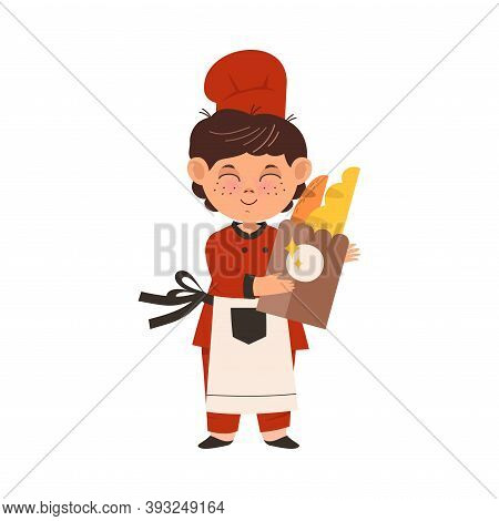Cute Boy Chef In Toque And Apron Holding Pastry And Buns Vector Illustration
