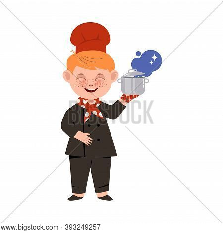 Cute Boy Chef In Toque And Jacket Holding Saucepan Vector Illustration