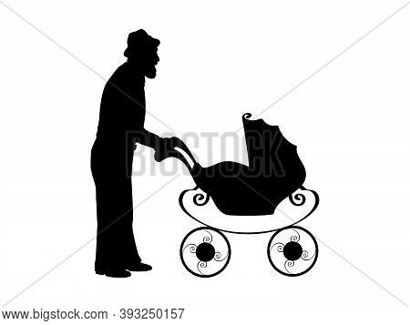 Silhouette Of Grandfather With Baby Stroller. Illustration Graphics Icon Vector
