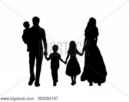 Family Silhouettes Father Mother And Three Children From Back. Illustration Graphics Icon Vector