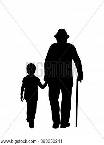 Silhouette Of Grandfather Walking With Grandson. Illustration Graphics Icon Vector