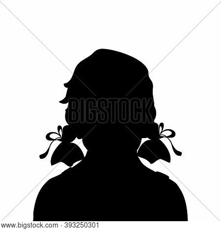 Silhouette Face Girl Kid Close Up. Illustration Graphics Icon Vector