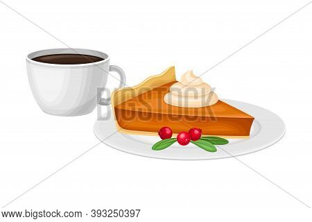 Piece Of Baked Pumpkin Pie With Whipped Cream On Top With Cup Of Hot Coffee Vector Illustration