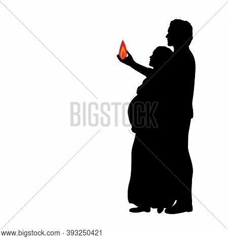 Silhouette Couple Expecting Baby Holding Fire Symbol Family House. Illustration Graphics Icon Vector