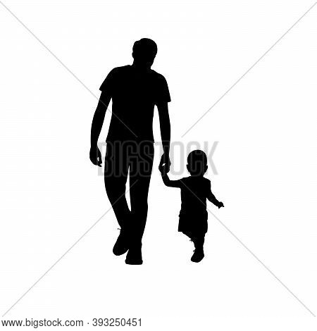 Silhouettes Happy Father Walking With His Little Son. Illustration Graphics Icon Vector