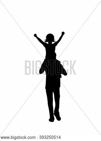 Silhouette Father Walking With Daughte On Shoulders From Back. Illustration Graphics Icon Vector