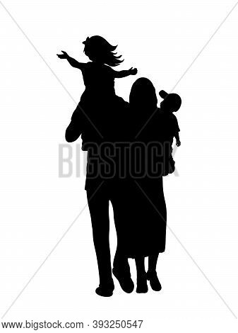 Silhouette Happy Family Father Carries Daughter On Shoulders And Mother Son In Arms. Illustration Gr