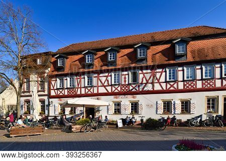 Lorsch, Germany - October 2020: Ice Cream Parlor 'dolomiti' In Old Traditional Half Timbered Buildin