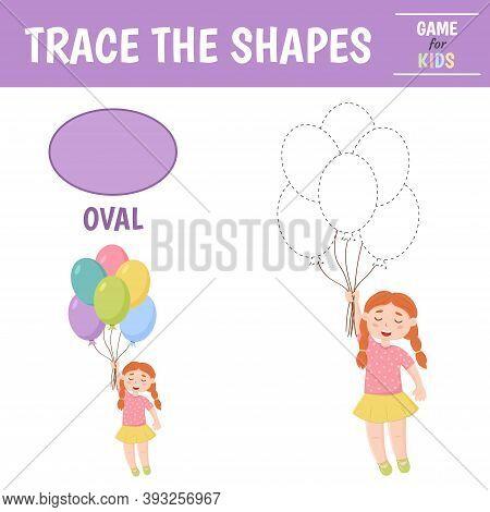 Learn Geometric Shapes - Oval. Preschool Worksheet For Practicing Motor Skills. Balloons Of Geometri