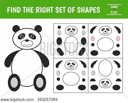 Educational Game For Kids. Panda Of Geometric Shapes. Find The Correct Block With Geometric Shapes.