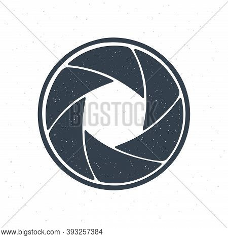 Silhouette Of Photo Camera Shutter Aperture. Vector Illustration. Diaphragm Of Optical Lens. Pattern