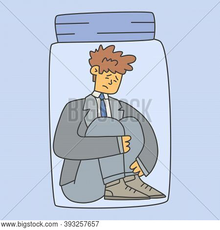 A Man In A Suit Sits In A Glass Jar, Flat Banner. Self-isolation And Teleworking Concept During A Pa