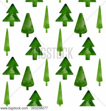 Watercolor Christmas Illustration Of A Green Christmas Tree On A White Background.set Of Watercolor