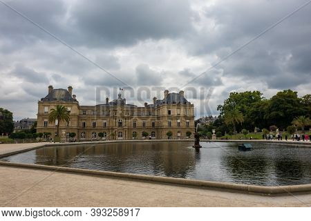 Paris, France - August 29, 2019 : Luxembourg Palace And Park In Paris, The Jardin Du Luxembourg, One