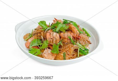 Baked Shrimp With Vermicelli Isolated On White Background ,include Clipping Path
