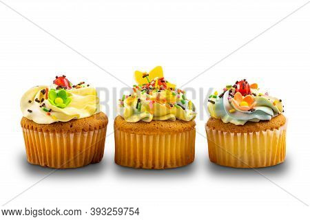 Vanilla Cupcake Garnished With Vanilla Butter Cream Frosting Decorated With Colorful Sprinkles Isola
