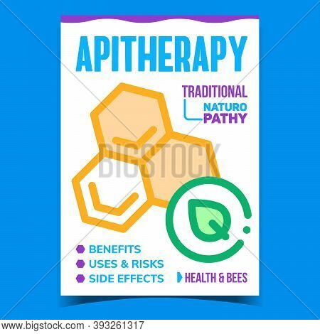 Apitherapy Creative Promotional Poster Vector. Apitherapy Traditional Naturopathy, Honeycomb And Lea