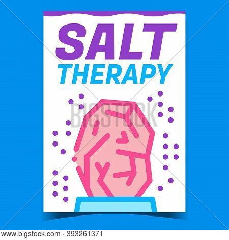 Salt Therapy Creative Promotional Poster Vector. Salt Rock Body Care Therapeutical Mineral Advertisi
