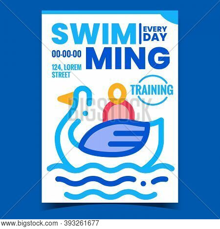 Swimming Waterpool Creative Promo Poster Vector. Swimming Attraction, Human Visitor Floating In Boat