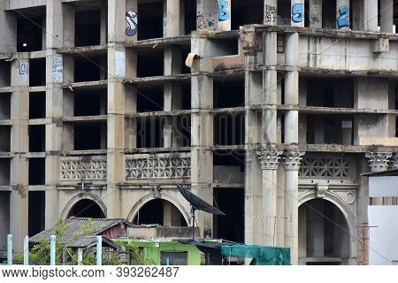 Bangkok - 08.08.2018 The Abandoned Sathorn Unique Building, Known As The Ghost Towe This Dangerous A