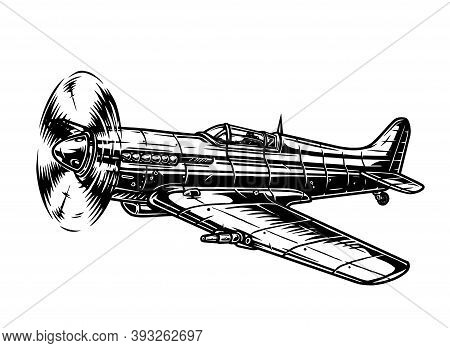 Old Military Fighter Plane Template In Vintage Monochrome Style Isolated Vector Illustration