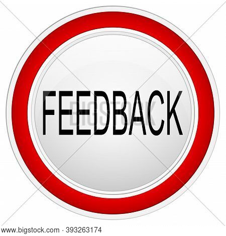 Red Feedback Button On White Background - Illustration