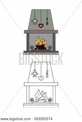 Wood Fire Chimney. Comforting Atmosphere. Coloring Page For Kids. Vector Illustration.