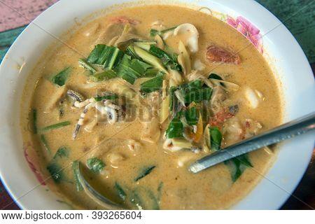 Thai Soup Tom Kha In A Plate