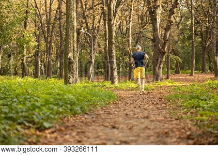 Mature Sportsman Doing Cardio Workout In Forest