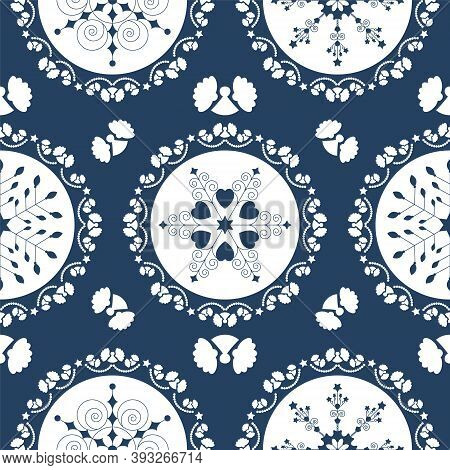 Seamless Pattern Christmas Theme. Pretty Mandalas And Frieze Around With Angels. Snowflakes, Hearts