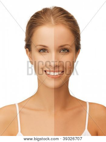 bright closeup portrait picture of beautiful woman with half face tanned