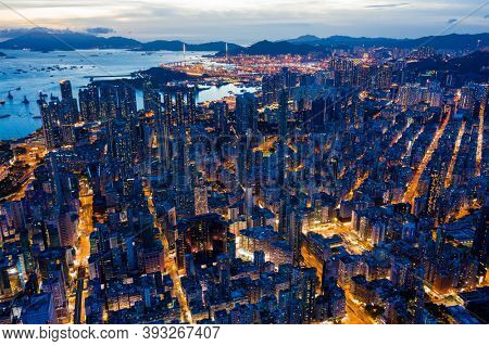 Mong Kok, Hong Kong 26 July 2020: Top down view of Hong Kong city at night