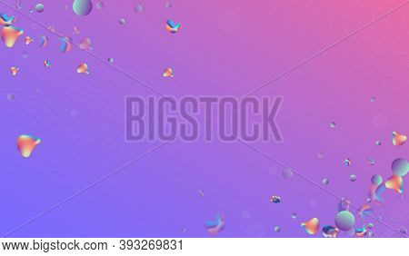 Holographic 3d Hipster Vector Blue Background. Gradient Holography Pattern. Hologram Cosmic Bubbles