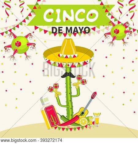 Mexico Traditional Fiesta. Cinco De Mayo Mexican Holiday Celebration Greeting Card. Vector Illustrat