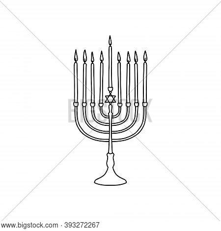 Outline Hanukkah Menorah Icon, Doodle, Black And White Illustration. Vector Stock Illustration.