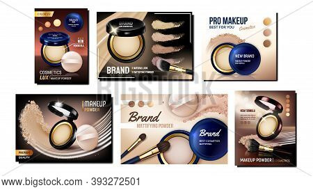 Powder Cosmetics Creative Promo Posters Set Vector. Makeup Powder Blank Packages With Puff And Mirro
