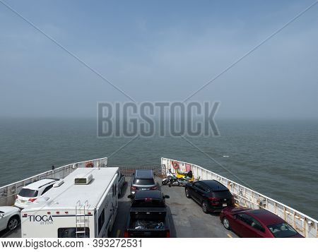 Lewes, Usa - June 10, 2019: A Foggy Ferry Crossing From Cape Henlopen To Cape May.