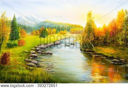 Original  Oil Painting Of Beautifl Autumn Landscape, Forest,mountains  And River  On Canvas.modern I