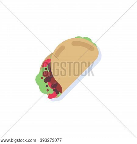 Tacos With Meat And Vegetable Flat Icon, Vector Sign, Mexico Food With Tortilla Taco Colorful Pictog