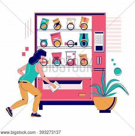 Woman Buying Snack From Vending Machine, Flat Vector Illustration. Snack Food Automatic Machine.