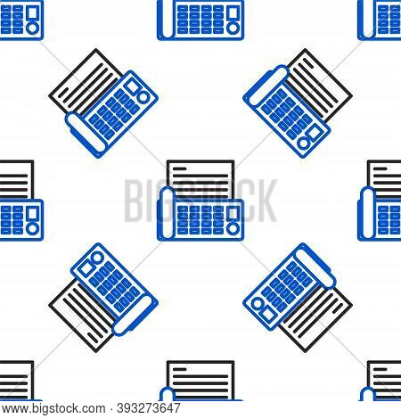 Line Fax Machine Icon Isolated Seamless Pattern On White Background. Office Telephone. Colorful Outl