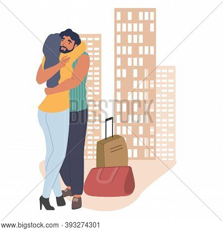 Couple Greeting Each Other With A Hug Flat Vector Illustration. Husband Coming Back Home From Busine